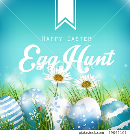 Beautiful Easter Blue Background with flowers and  39045101