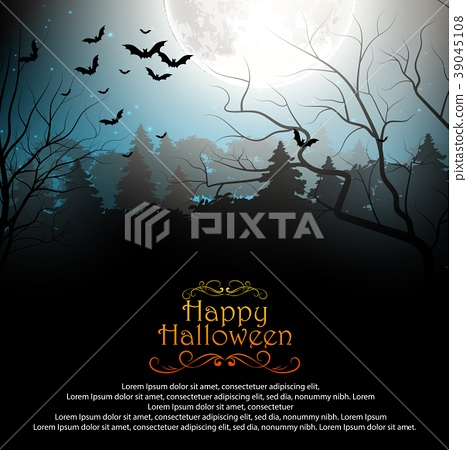 Halloween background with creepy forest with bats  39045108