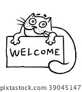 Cute hospitable cat is holding a sign. Vector 39045147