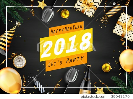 Happy new year 2018 greeting card with elements 39045170