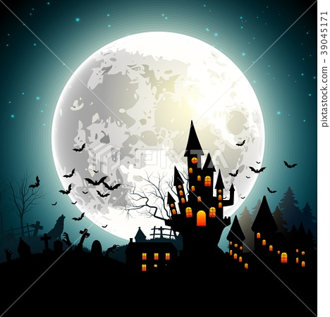 Halloween background with haunted castle, bats on  39045171