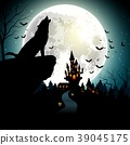 Halloween background with the wolf on full moon 39045175