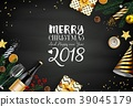 Merry christmas 2018 card with black and gold chri 39045179