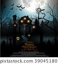 Halloween background with scary graveyard and farm 39045180
