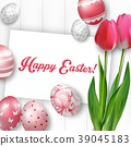 Easter background with colored eggs, red tulips an 39045183
