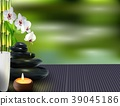 Stone, flower and bamboo on the table background 39045186