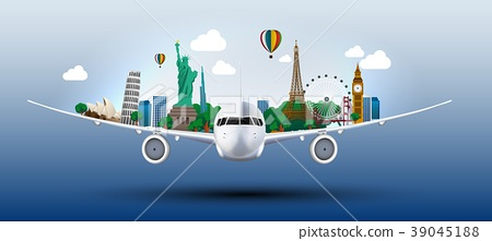 The concept travel the world on the airplanes 39045188