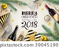 Merry christmas and happy new year 2018 card with  39045190