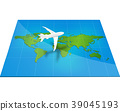 Plane the world map with concept of three-dimensio 39045193