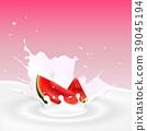 Milk splash with watermelon slice 39045194