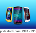 Smartphone with fingerprint scanner isolated blue  39045195