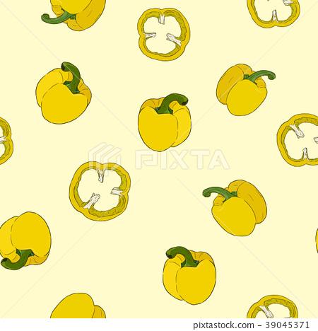 seamless pattern Pepper hand drawn vector set.  39045371