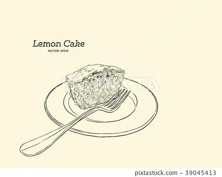 lemon cake with poppy seeds and sugar glaze vector 39045413