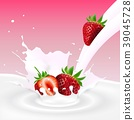 Flowing milk splash with strawberries fruits 39045728