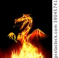 Dragon fire on background 39045741
