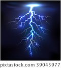 Lightning of blue with a black background 39045977