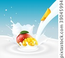Mango fruits and milk splash 39045994
