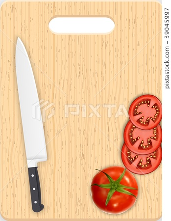Red tomato slices and knife on the chopping board 39045997