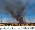 controlled burn, chitarase manmade pond, smoke 39047980