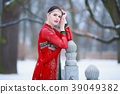 winter, park, dress 39049382