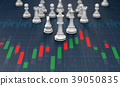 Chess on candle stick graph stock market 39050835