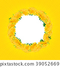 Wreath dandelions isolated, Summer card, yellow 39052669