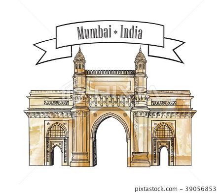 Mumbai city gate way icon India. Maharashtra gates 39056853