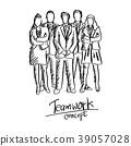 doodle five business people team in formal suit 39057028