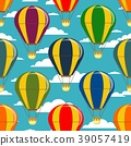 Different colorful air balloons seamless pattern 39057419