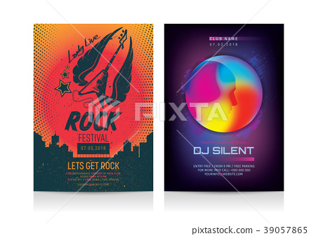 Set of Rock & Dj Party Flyer layout templates. 39057865