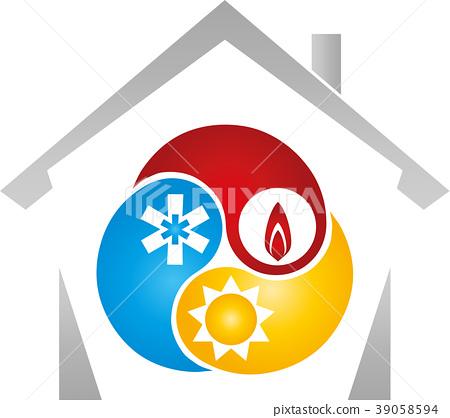 House, sun, snow, flame, plumber, logo 39058594