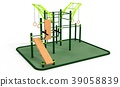 Parallel horizontal bars for workout. 3Drendering. 39058839