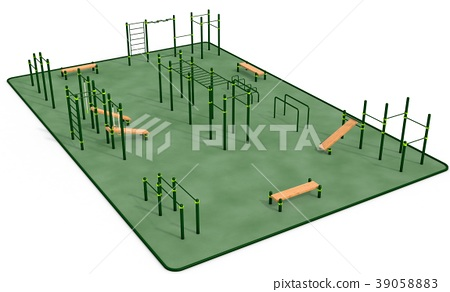 Outdoor fitness equipment for workout inpark. 39058883