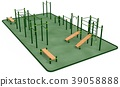 Outdoor fitness equipment for workout in park. 39058888