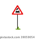 Triangular road sign with train without barrier 39059054