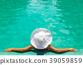 young woman in white hat 39059859