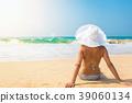 Happy woman enjoying sea view 39060134