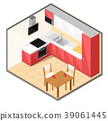 Red kitchen in isometric style. 39061445