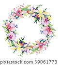 Bouquet flower wreath in a watercolor style. 39061773
