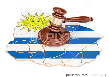 Wooden Gavel on map of Uruguay, 3D rendering 39062724