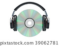 Headphones with compact disc, 3D rendering 39062781