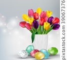 Easter background with colorful eggs and tulips in 39067376