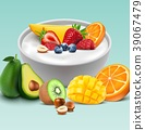Yogurt bowl with mixed fruits 39067479