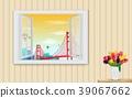 Opened wooden window and view on golden gate bridg 39067662