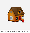 House with key and red house trinket in keyhole 39067742