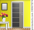 Closed door with vase and flowers over white table 39067874