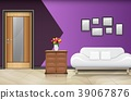 Closed wood door with white sofa and pillows on pu 39067876