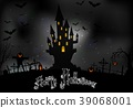 Halloween background with scary house 39068001