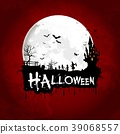 Halloween poster on full moon with scary house and 39068557
