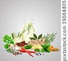 Spices and herbs with a glass bottle 39068805